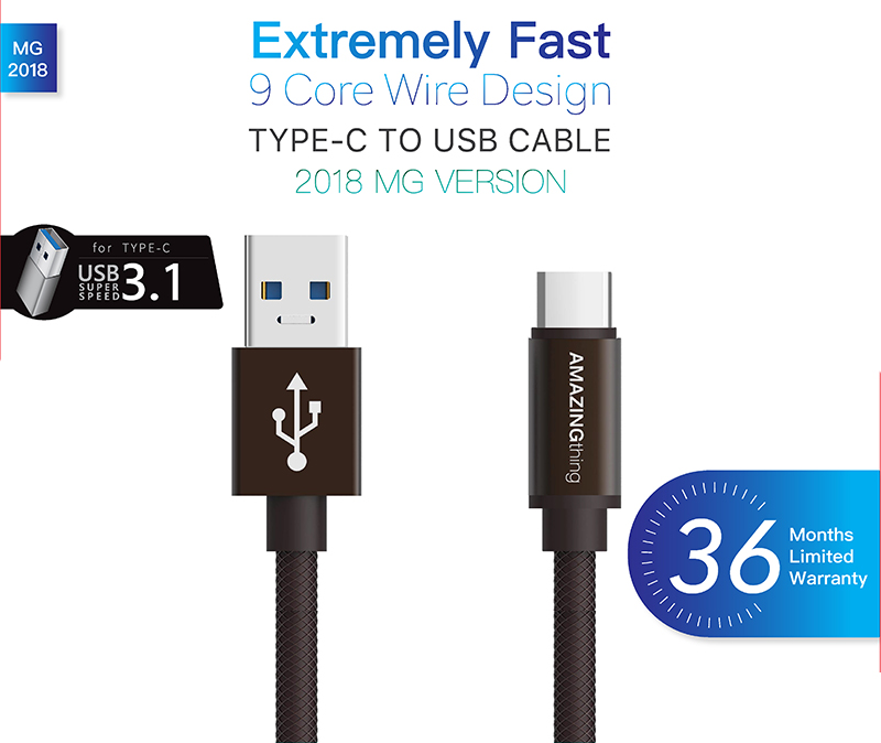 AMAZINGthing USB-A to USB-C Cable SupremeLink Power Max 1M. Bronze