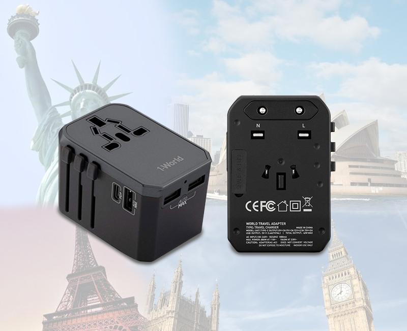 Momax World Travel Plug 3xUSB-A / 1xUSB-C (42W) Black