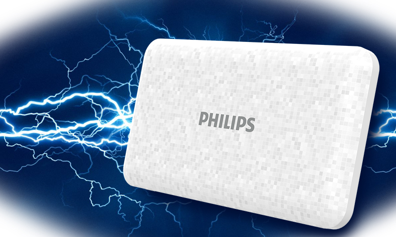 Philips Power Bank 10,000 mAh Li-Polymer USB2Ports 2.1A/1A Micro USB/Type-C 2A White