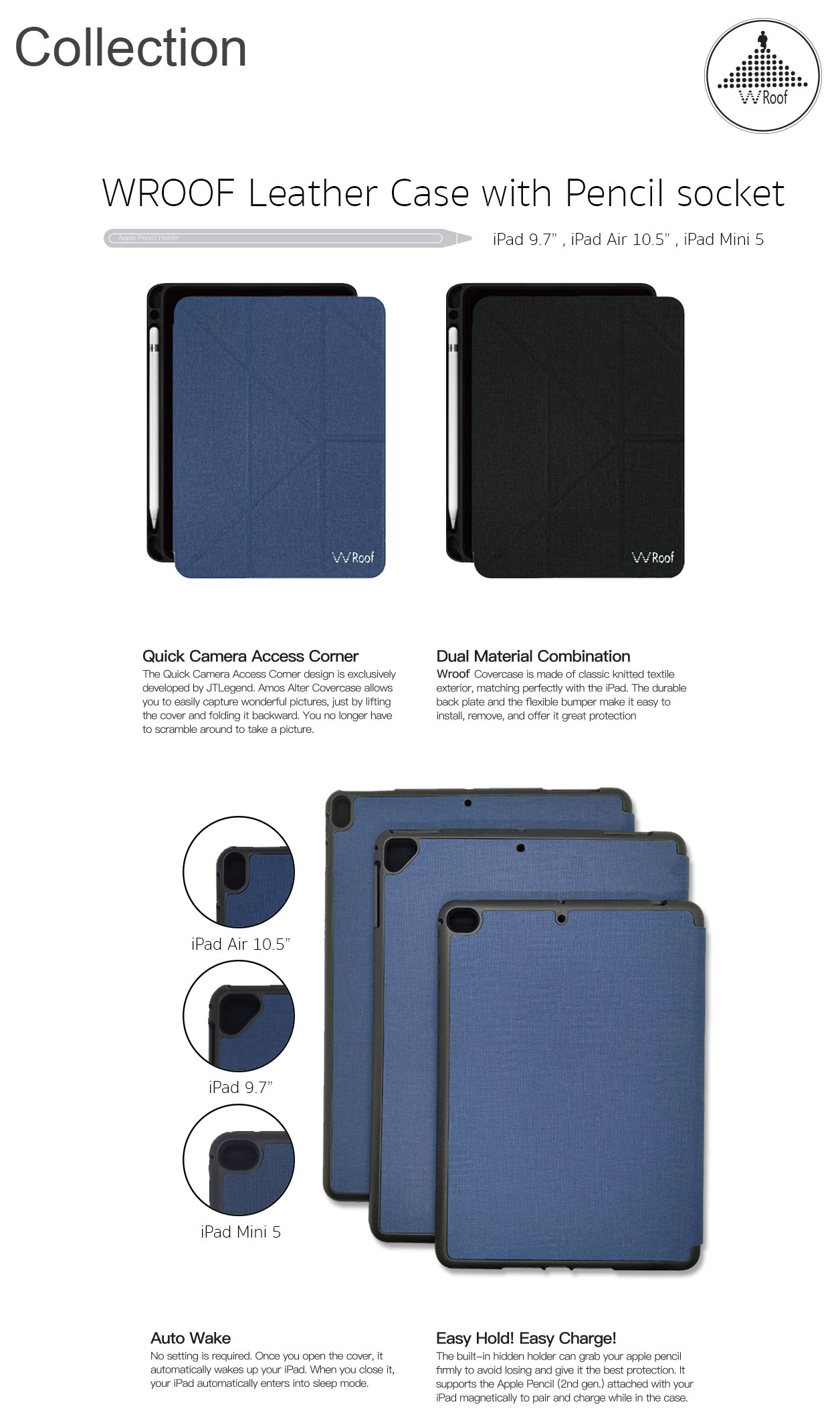 Wroof Leather Case with Pencil Socket for iPad 10.5 inch Navy