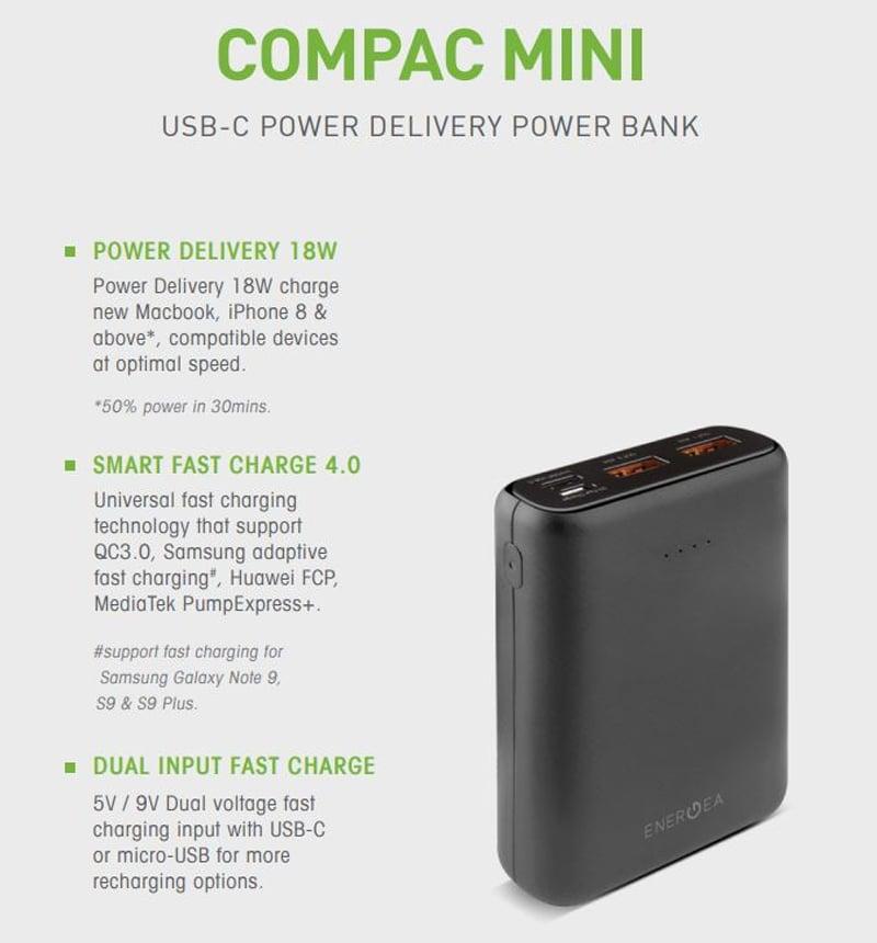 Energea Power Bank Compac PQ1201 10000 mAh PD + Smartfc4.0