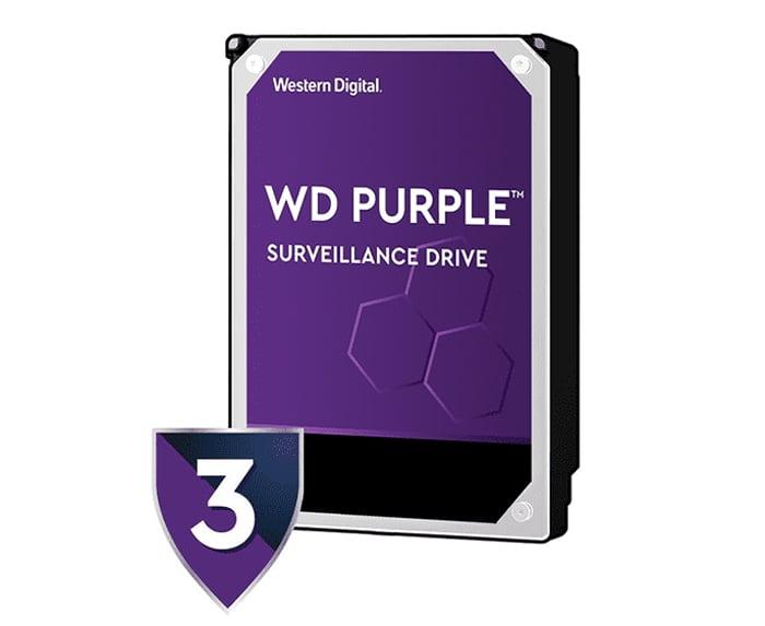 WD HDD PC 3TB 5400RPM SATA III 64MB (6Gb/s) for CCTV Purple  - 3 Year