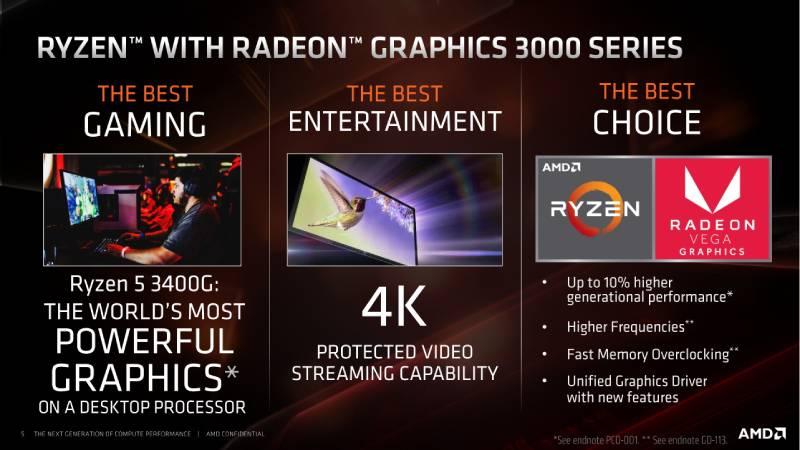 AMD CPU Ryzen 5 3400G 3.7GHz 4C/8T (AM4 GEN3)