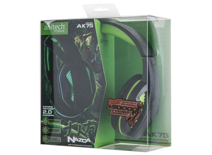 Anitech Headphone with Mic. AK75 Black
