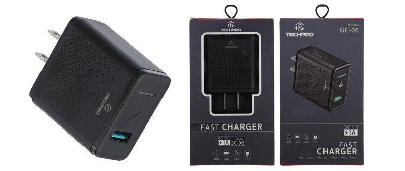 TECHPRO Wall USB Charger 1 Port 1A GC06 Black