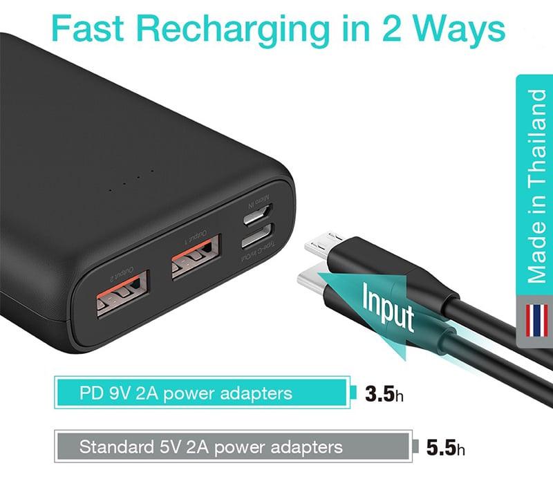 Alpha Power Bank 10000 mAh 2 x USB-A / 1 x USB-C (Input Only) / C10PD Black