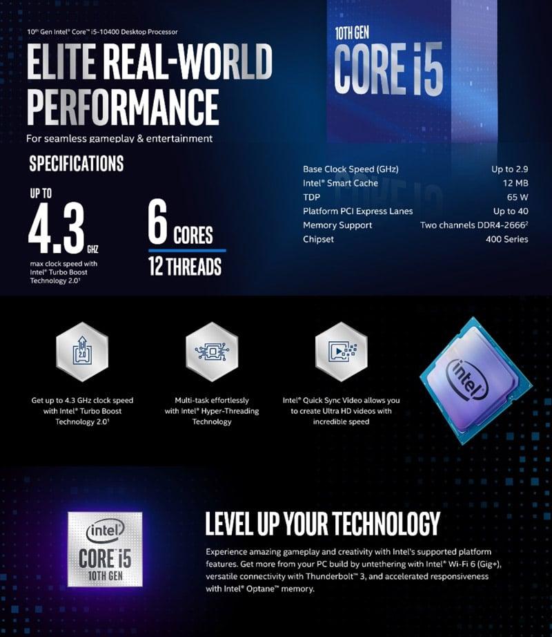 Intel CPU Core i5-10400 2.9 GHz 6C/12T LGA1200