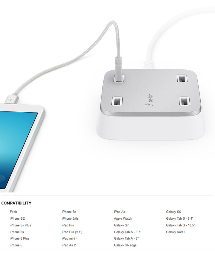 Belkin Family RockStar 4Ports USB Home Charger (F8M990vfWHT)