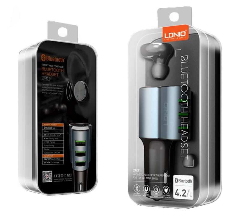 LDNIO Car Charger 3 Port with Mono Bluetooth Headset Navy Blue