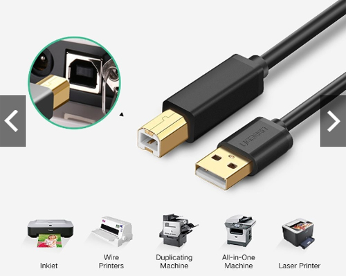 CS@ Ugreen USB2.0 Type A Male to USB Type B Male printer cable 3M (10351)